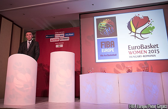 FIBA Europe Secretary General Kamil Novak speaks at the EuroBasket Women 2015 Draw