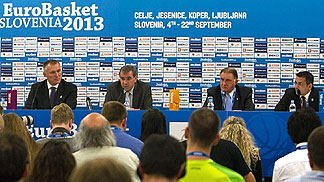 FIBA Europe Secretary General Kamil Novak, Slovenian Basketball Federation President Roman Volcic, FIBA Europe Acting President Cyriel Coomans and EuroBasket 2013 Tournament Director Ales Kriznar