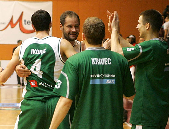 Krka players celebrate their victory on the road in Sofia