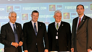 FIBA Europe Secretary General Nar Zanolin, FIBA Europe President Olafur Rafnsson, Hungarian Federation President Ferenc Szalay and Hungarian Federation Secretary General Tamas Sterbenz (left to right) signing the hosting agreement for EuroBasket Women 201