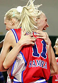 Maria Stepanova and Ann Wauters celebrating the title