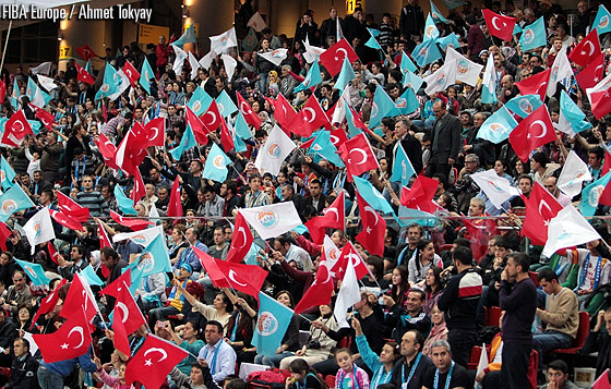 Kayseri supporters at the second-leg final of the EuroCup Women