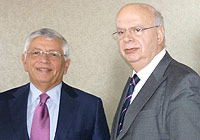 FIBA Europe President George Vassilakopoulos and NBA Commissioner David Stern.