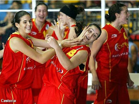 Spain's Tamara Abalde Diaz (left) and Anna Carbo Coloma celebrating