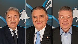 FIBA Europe vice-presidents for the 2014-2018 term of office, (left to right) Dino Meneghin (Italy), Cyriel Coomans (Belgium) and Oleksandr Volkov (Ukraine)