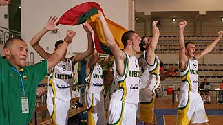 Lithuania celebrate their place in the final game.