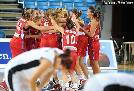 Serbia celebrate their overtime victory over the Slovak Republic