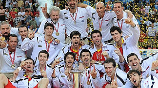Spain celebrating Gold Medal
