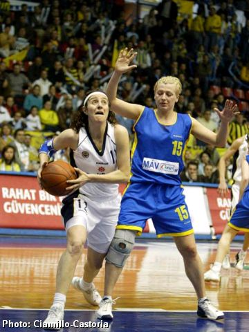 Serap Yücesir (Fenerbahce) driving to the basket