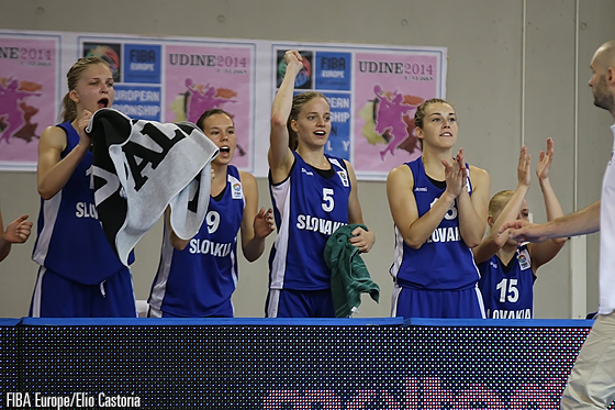 The Slovak bench celebrates