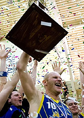 Pall Axel Vilbergsson of Grindavik lifting the Icelandic championship trophy