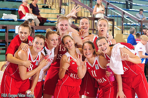 Russia celebrate claiming fifth spot