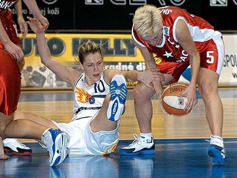Jela Males (K Cero I.C.P. Kosice, left) and Jelena Skerovic (Wisla Can-Pack Krakow)