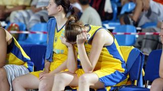 the Ukrainian girls after the end of the game