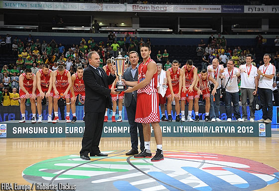 Croatia captain Mislav Brzoja is presented with the trophy