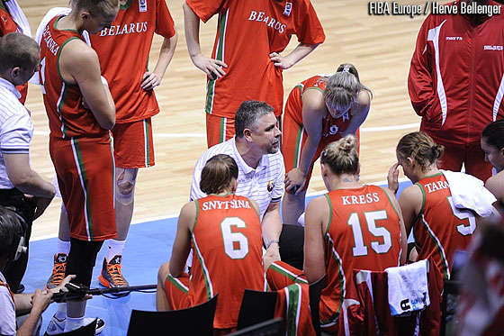 Belarus head coach Rimantas Grigas in a timeout