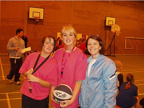 Volunteers at the Dundee Basketball Festival in Scotland