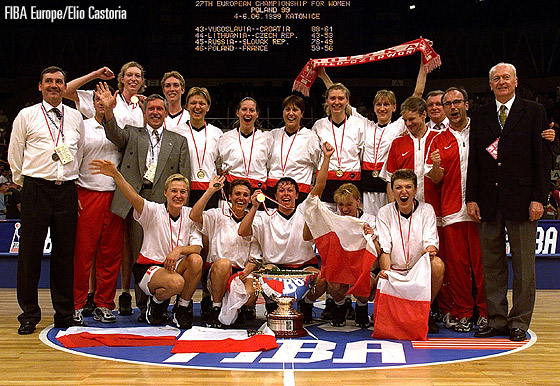 Hosts Poland are crowned champions at the European Championship for Women in 1999