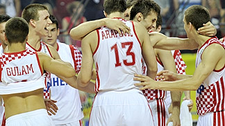 Croatia celebrate their semi-final victory over Latvia
