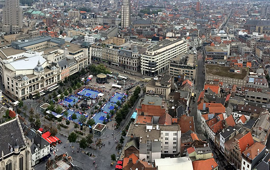 Birds eye view of Old Town Antwerp with transformed Groenplaats