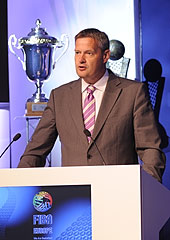 FIBA Europe President Olafur Rafnsson welcomes the club representatives to the 2012/13 club competitions draw