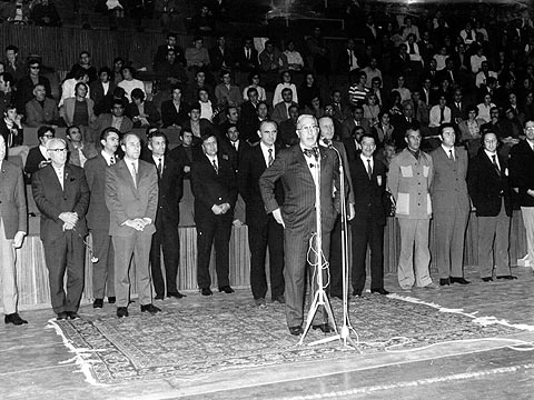 FIBA Secretary General William Jones at the opening ceremony of the 1972 European Championship for Women in Bulgaria
