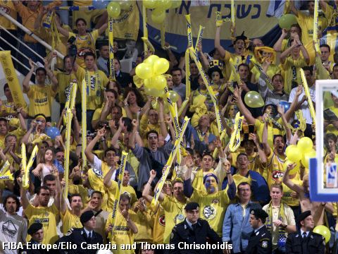 Maccabi Tel Aviv fans at the 2000 EuroLeague Final Four in Thessaloniki