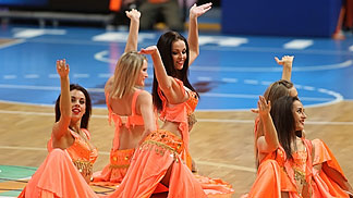 Cheerleaders performing during the contest between Fenerbahce and Sparta&K M.R. Vidnoje