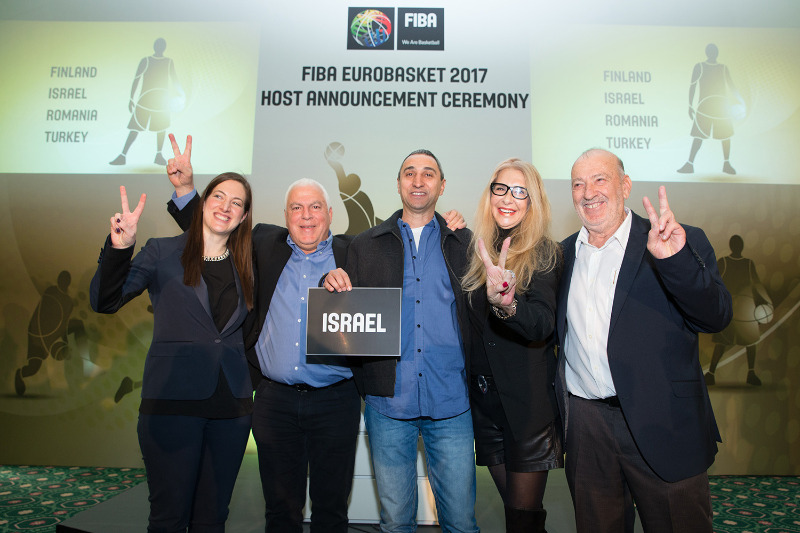 The Israeli delegation following the announcement of the FIBA EuroBasket 2017 hosts