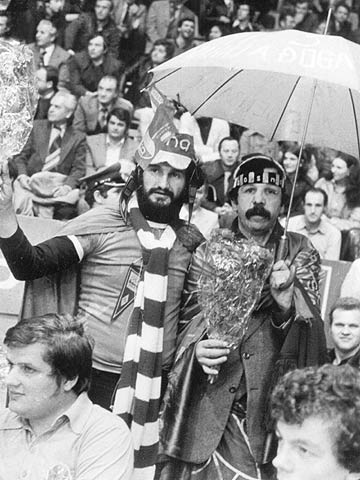 Fans at the 1978 Korac Cup Final - KK Partizan (YUG) vs KK Bosna (YUG)
