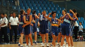 Serbia & Montenegro celebrate victory over medal rivals Belarus in the opening game of the European Championship for U18 Women