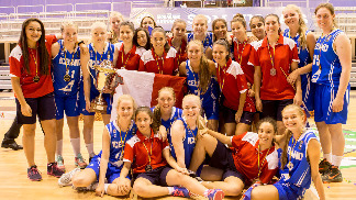 Bronze medallists Malta and champions Iceland pose for a group photo after the closing ceremony