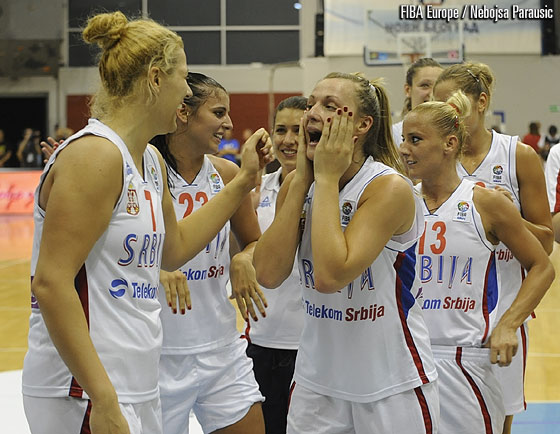 Serbia celebrate their victory over Montenegro