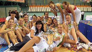 Lithuania with their gold medals.