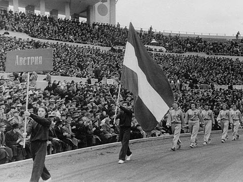 Team Austria are presented at the opening ceremony of the 1952 European Championship for Women in Moscow