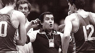 Czechoslovakia coach Pavel Petera gives instructions during a time-out at the 1981 EuroBasket