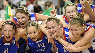 The Czech Republic celebrate their bronze medal win.