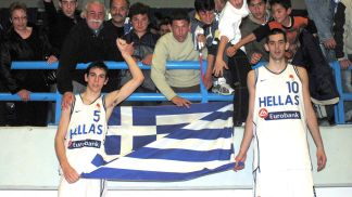 Igkor Milosevits and Ntousan Sakota celebrate Greece's qualification to the 2004 European Championship for U18 Men
