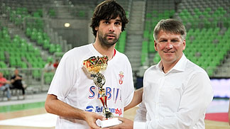 Milos Teodosic (Serbia) earns MVP honours at the Adecco Cup 2012