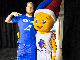 Iceland national team center Ragnar Agust Nathanaelsson poses with EuroBasket 2015 mascot Frenkie during the 16th Games of the Small States of Europe