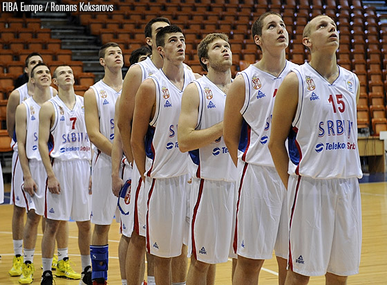 Serbia line up before their opener against Slovenia