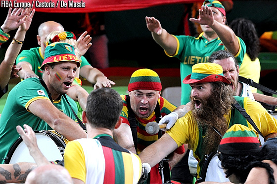 Lithuanian fans warming up for the game