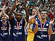 EWE Basktes Oldenburg celebrate after winning the third-place game at the Final Four in Izmir
