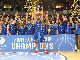 Skyliners co-captain Danilo Barthel lifts the 2016 FIBA Europe Cup trophy