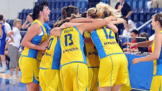 Ukraine celebrate their victory over Czech Republic