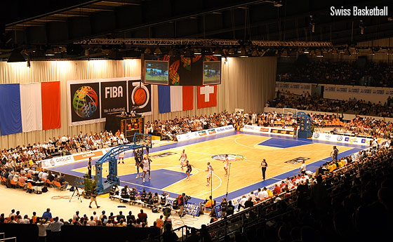 Exhibition game Switzerland vs France in Geneva to celebrate FIBA's 75th anniversary