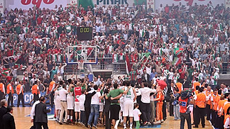 Pinar Karsiyaka celebrating their semi-final triumph