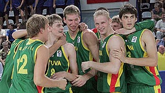 Lithuania celebrate their semi-final win over Israel