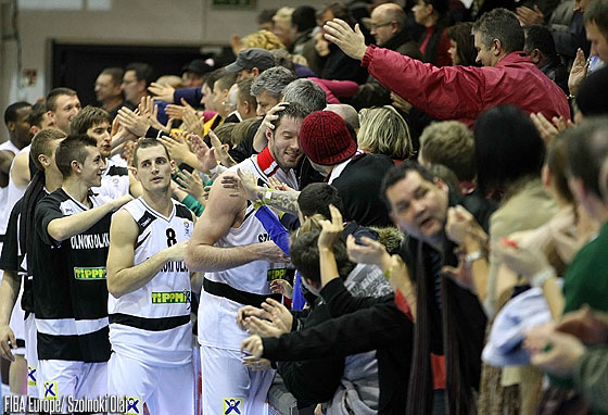 Szolnoki Olaj celebrate their overtime victory over BCM Gravelines-Dunkerque with their fans