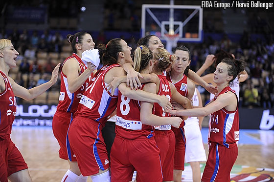 Serbia celebrating their win over Croatia